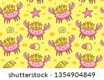 cute crabs in the golden crowns ...   Shutterstock .eps vector #1354904849