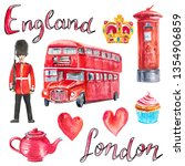 watercolor set with london... | Shutterstock . vector #1354906859