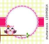baby frame with owl  vector eps ... | Shutterstock .eps vector #135490814