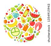 set of baby food flat elements. ... | Shutterstock .eps vector #1354915943