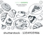 a set of french desserts with... | Shutterstock .eps vector #1354935986