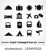 Collection of isolated travel & transport icons on white background. Vector illustration. - stock vector