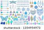 boho doodles set. ethnic.... | Shutterstock .eps vector #1354954973