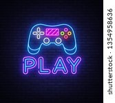 gaming neon sign vector. play... | Shutterstock .eps vector #1354958636