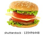 hamburger on white background | Shutterstock . vector #135496448