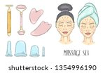 the girl s face with closed... | Shutterstock .eps vector #1354996190