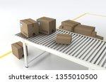 cardboard box on roller... | Shutterstock . vector #1355010500
