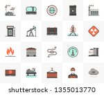 flat line icons set of fossil... | Shutterstock .eps vector #1355013770