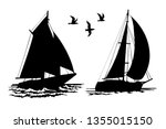 Silhouettes Of Sailing Yachts...