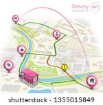 delivery navigation route  city ... | Shutterstock .eps vector #1355015849