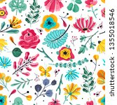 floral seamless pattern. spring ... | Shutterstock .eps vector #1355018546