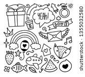 handdrawn doodles of various...   Shutterstock .eps vector #1355032580