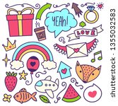 handdrawn doodles of various...   Shutterstock .eps vector #1355032583