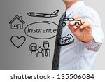 businessman drawing insurance... | Shutterstock . vector #135506084