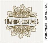 brown passport rosette with... | Shutterstock .eps vector #1355078123