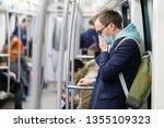 ill man in glasses feeling sick ... | Shutterstock . vector #1355109323