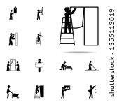 worker glues wallpaper icon.... | Shutterstock . vector #1355113019