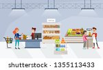 supermarket interior with... | Shutterstock .eps vector #1355113433