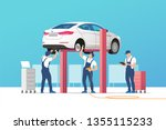 auto service and repair. car in ... | Shutterstock .eps vector #1355115233