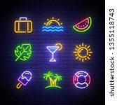 summer icons set. summer neon... | Shutterstock .eps vector #1355118743
