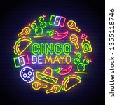 cinco de mayo neon sign  bright ... | Shutterstock .eps vector #1355118746
