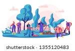 gardener caring of residential... | Shutterstock .eps vector #1355120483