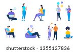 young people using devices such ... | Shutterstock .eps vector #1355127836