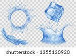 translucent ice cube  splash... | Shutterstock .eps vector #1355130920