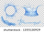 translucent splashes and water... | Shutterstock .eps vector #1355130929