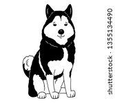 cartoon husky logo. portrait of ...   Shutterstock .eps vector #1355134490