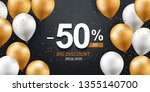 fifty percent discount. gold... | Shutterstock .eps vector #1355140700