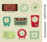 set of retro clocks  including... | Shutterstock .eps vector #135514736