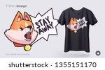 funny shiba inu dog. print on t ...   Shutterstock .eps vector #1355151170