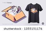 funny cat sitting in cardboard...   Shutterstock .eps vector #1355151176