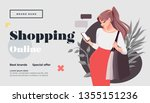 online shopping landing page or ... | Shutterstock .eps vector #1355151236