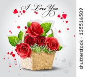 Red Roses In A Basket On A Gray ...