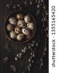 organic quail eggs in wooden... | Shutterstock . vector #1355165420