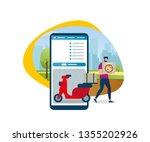 bearded cartoon guy shipping... | Shutterstock .eps vector #1355202926