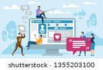young people using mobile...   Shutterstock .eps vector #1355203100