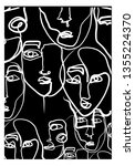 abstract face continuous line... | Shutterstock .eps vector #1355224370