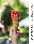 hand hold ice cream in garden | Shutterstock . vector #1355227760