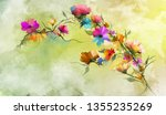 abstract floral oil color... | Shutterstock . vector #1355235269