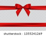 red bow and horizontal ribbon... | Shutterstock .eps vector #1355241269