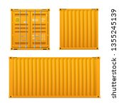 realistic bright yellow cargo... | Shutterstock .eps vector #1355245139