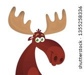 funny cartoon moose head.... | Shutterstock .eps vector #1355258336