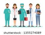 set of doctor and nurse cartoon ... | Shutterstock .eps vector #1355274089