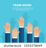 raised hands. team work concept.... | Shutterstock .eps vector #1355278049