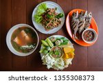Stock photo nam prik pla to fried fish spicy fish salad tom yum soup thai street food lunch set and fresh 1355308373