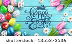happy easter poster and... | Shutterstock .eps vector #1355373536