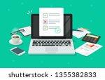 online form survey on laptop... | Shutterstock .eps vector #1355382833